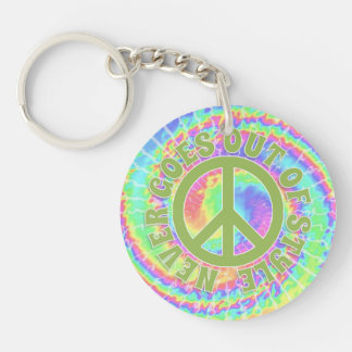 Tie dye Peace never goes out of style on Double-Sided Round Acrylic Keychain