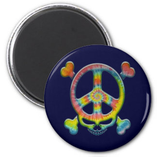 Tie-Dye Peace Pirate 2 Inch Round Magnet