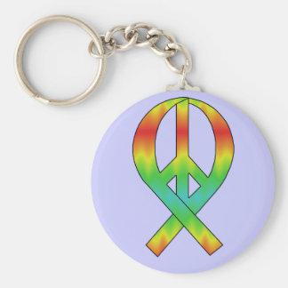 Tie Dye Peace Ribbon Keychain