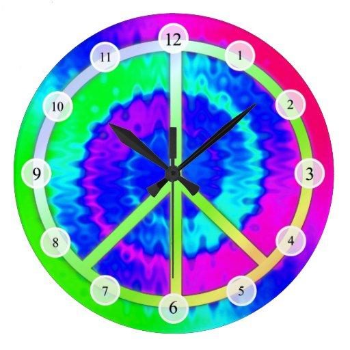 Tie Dye Peace Sign Clock
