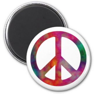 Tie Dye Peace Symbol 2 Inch Round Magnet