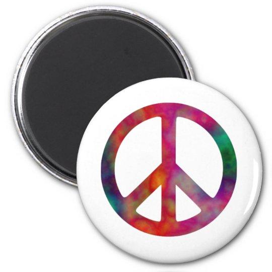 Tie Dye Peace Symbol 2 Inch Round Magnet