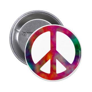 Tie Dye Peace Symbol 2 Inch Round Button