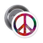 Tie Dye Peace Symbol Pinback Button