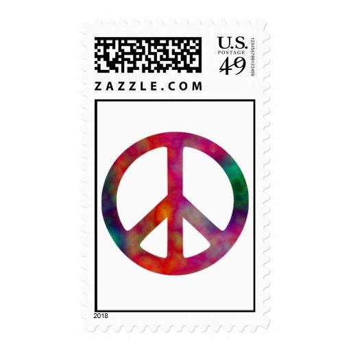 Tie Dye Peace Symbol Postage