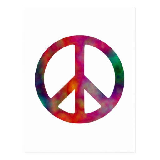 Tie Dye Peace Symbol Postcards