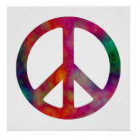 Tie Dye Peace Symbol Poster
