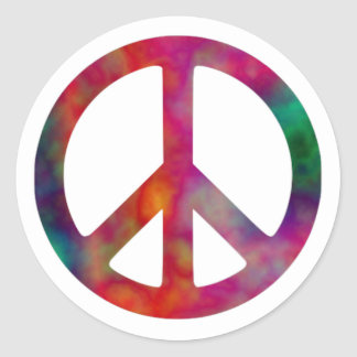 Tie Dye Peace Symbol Round Stickers