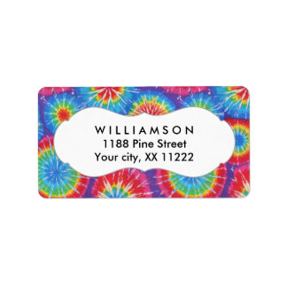 Tie Dye personalized party favor tags or labels