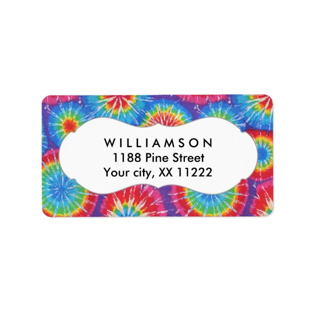 Tie Dye personalized party favor tags or labels | Zazzle
