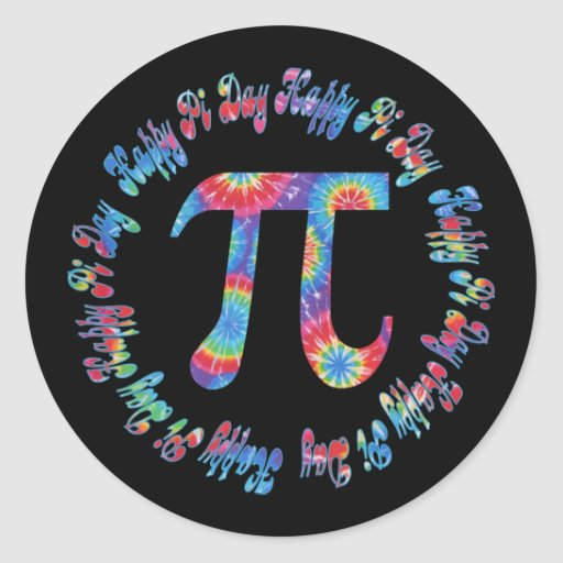 Tie Dye Pi Day Tees and Gifts Classic Round Sticker