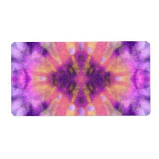 Tie Dye Pink Purple Radial Rays Spot Pattern Label