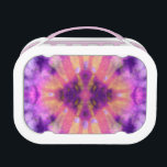 """Tie Dye Pink Purple Radial Rays Spot Pattern Lunch Box<br><div class=""""desc"""">A tie dye pattern digital art design pattern in dark and light pink with white and purple colors. Radial rays shine out from a center detail rhombus diamond shaped spot.</div>"""