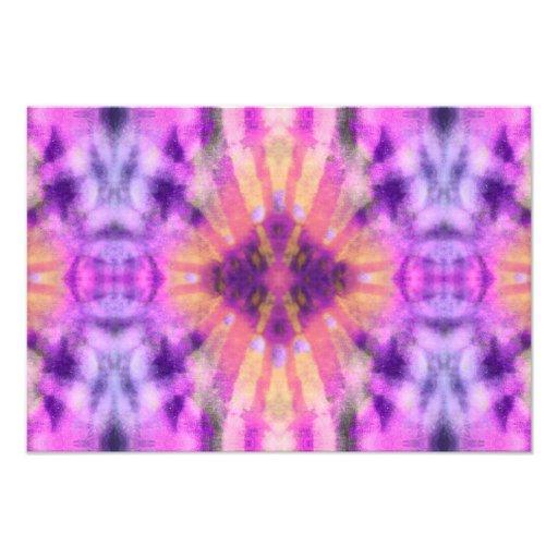Tie Dye Pink Purple Radial Rays Spot Pattern Photo Art
