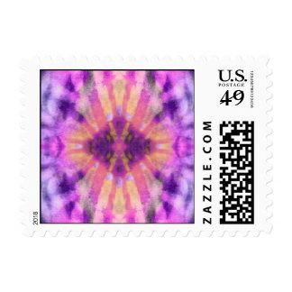 Tie Dye Pink Purple Radial Rays Spot Pattern Postage Stamp