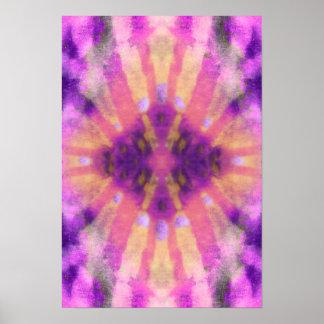 Tie Dye Pink Purple Radial Rays Spot Pattern Poster