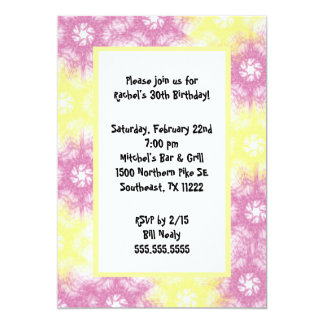 Tie Dye Pink Yellow Invitation
