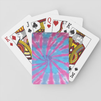 tie dye playing cards deck pink blue spiral
