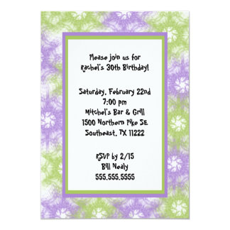 Tie Dye Purple Green Invitation