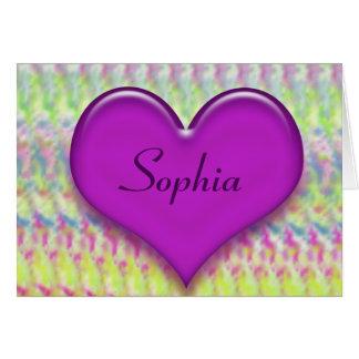 Tie Dye Purple Heart Stationery Note Card