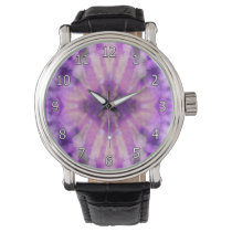 Tie Dye Purple Violet Radial Rays Spot Pattern Watch