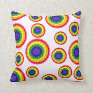Tie Dye Rainbow Circles Throw Pillows