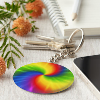 Tie Dye Rainbow Pattern Keychain