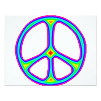 Tie Dye Rainbow Peace Sign 60's Hippie Love 4.25x5.5 Paper Invitation Card