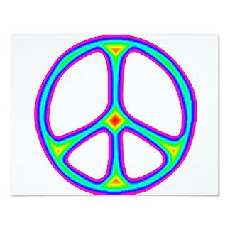 Tie Dye Rainbow Peace Sign 60's Hippie Love 4.25x5.5 Paper Invitation Card