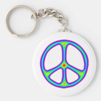 Tie Dye Rainbow Peace Sign 60's Hippie Love Basic Round Button Keychain