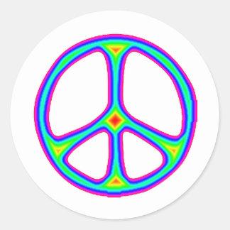 Tie Dye Rainbow Peace Sign 60's Hippie Love Classic Round Sticker