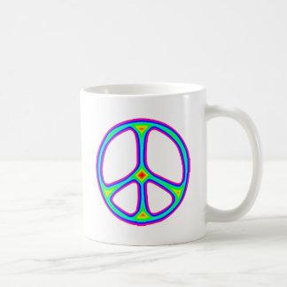 Tie Dye Rainbow Peace Sign 60's Hippie Love Coffee Mug