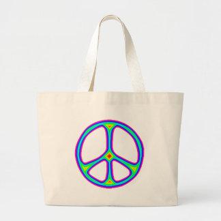 Tie Dye Rainbow Peace Sign 60's Hippie Love Jumbo Tote Bag