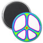 Tie Dye Rainbow Peace Sign 60's Hippie Love 2 Inch Round Magnet