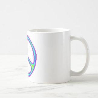 Tie Dye Rainbow Peace Sign 60's Hippie Love Classic White Coffee Mug