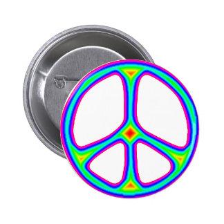 Tie Dye Rainbow Peace Sign 60's Hippie Love Pinback Button