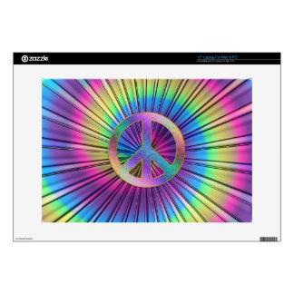 "Tie-Dye Rainbow Swirl Hippie Peace Sign 15"" Laptop Decal"