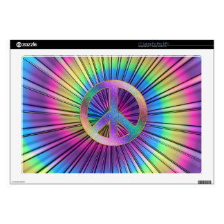 "Tie-Dye Rainbow Swirl Hippie Peace Sign Skin For 17"" Laptop"