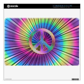 "Tie-Dye Rainbow Swirl Hippie Peace Sign Skins For 11"" MacBook Air"