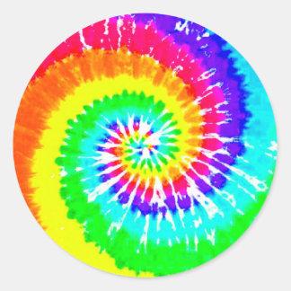 Tie Dye Rainbow Swirl Neon Rainbow Colors Pattern Classic Round Sticker