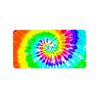 Tie Dye Rainbow Swirl Neon Rainbow Colors Pattern Label