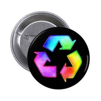 Tie Dye Recycling Symbol Button