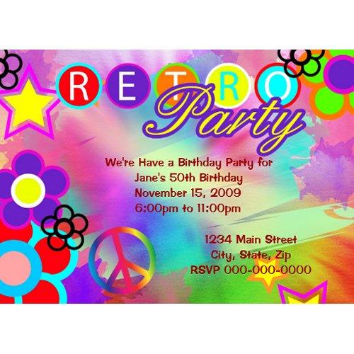 Tie-Dye Retro birthday party invitation zazzle_invitation