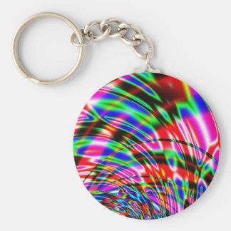 Tie Dye Retro Wave Fractal Basic Round Button Keychain