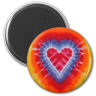 Tie dye round magnet with heart
