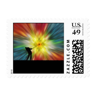 Tie Dye Silhouette Golfer Postage Stamps