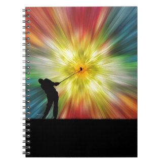 Tie Dye Silhouette Golfer Spiral Note Books