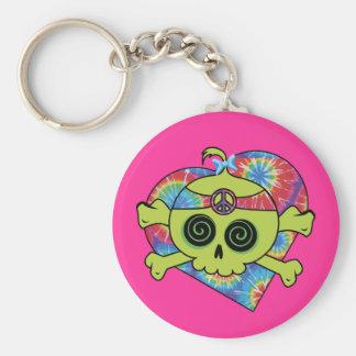 Tie Dye Skull Basic Round Button Keychain