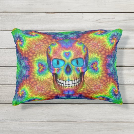 Tie Dye Skull Dead Zombie Undead Outdoor Pillow Zazzle Com
