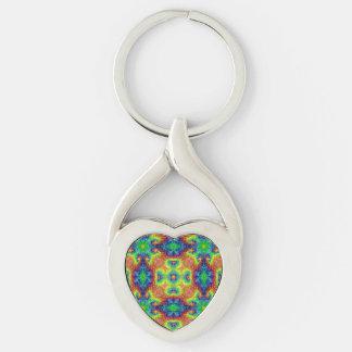Tie Dye Sky Kaleidoscope  Metal Keychains, 4 shap Keychain